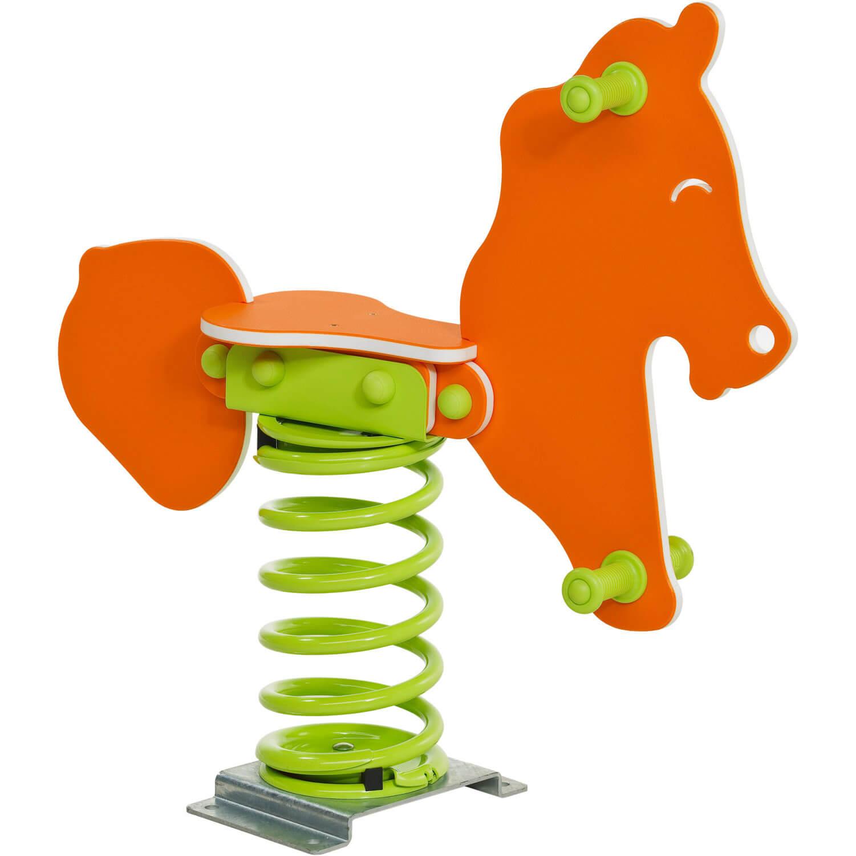 narancssárga rugós ló közelről