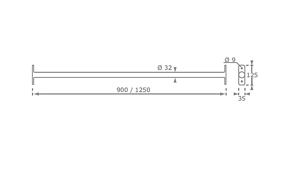 függeszkedő rúd rajz és méret 2