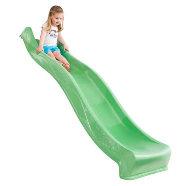 műanyag zöld tweeb csúszda kislány csúszva