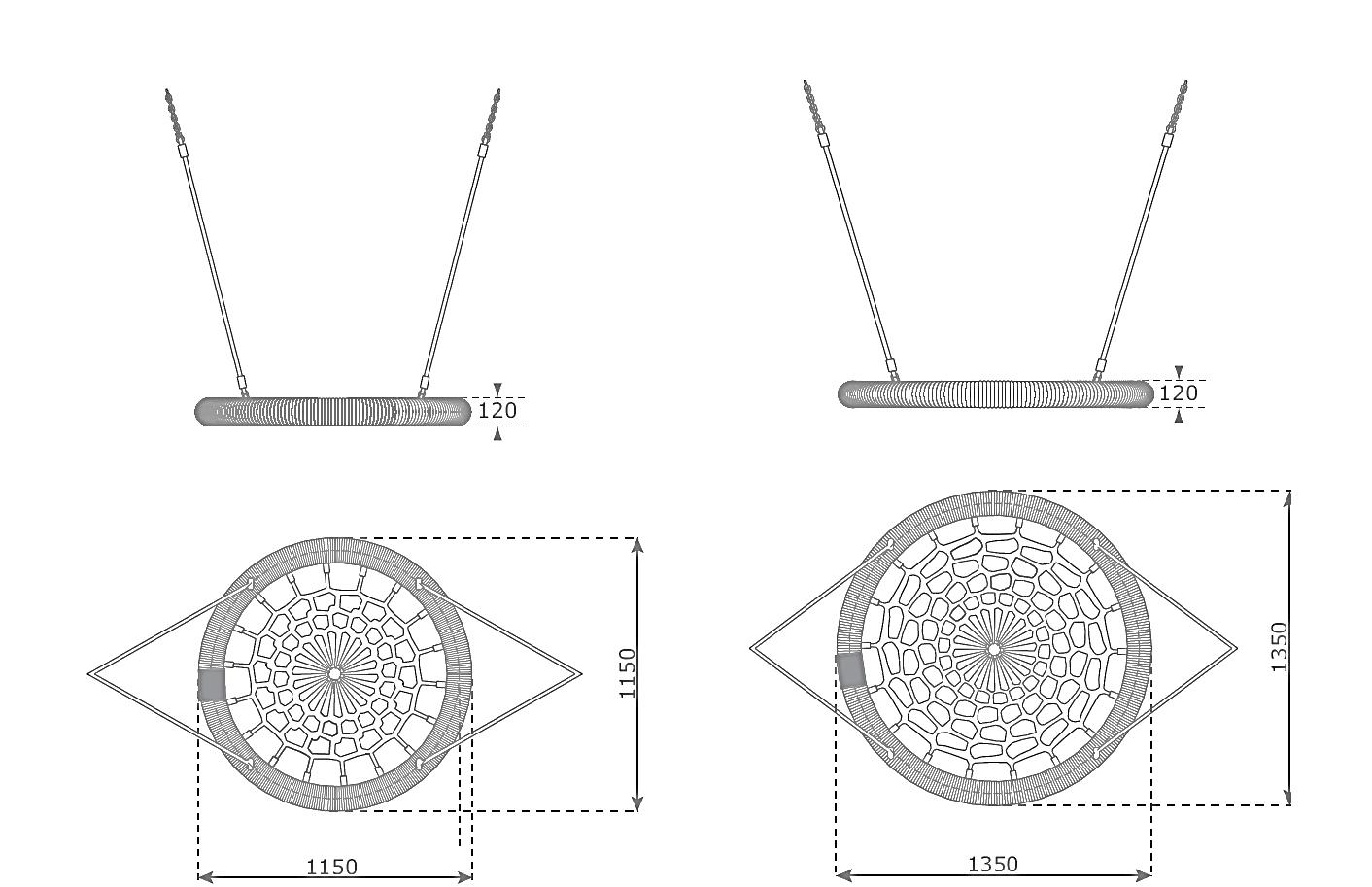 rosette közterületi fészekhinta rajz