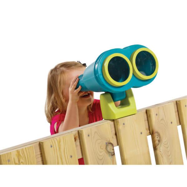 türkizkék játszótéri Star távcső kislánnyal belenézve