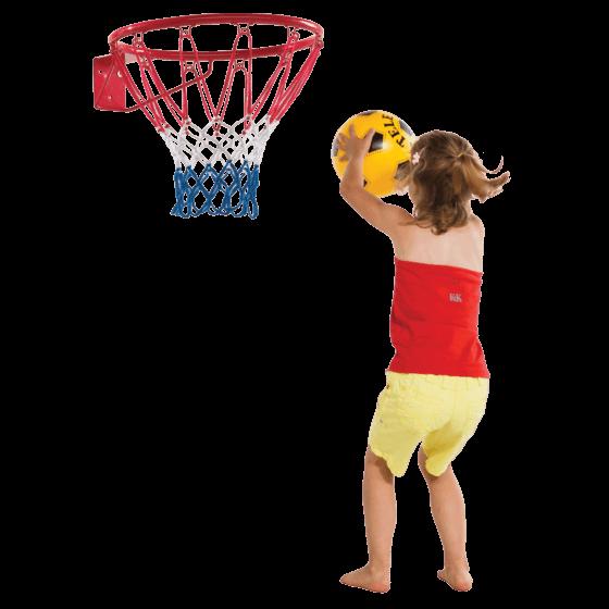 kosárlabda gyűrű és kislány
