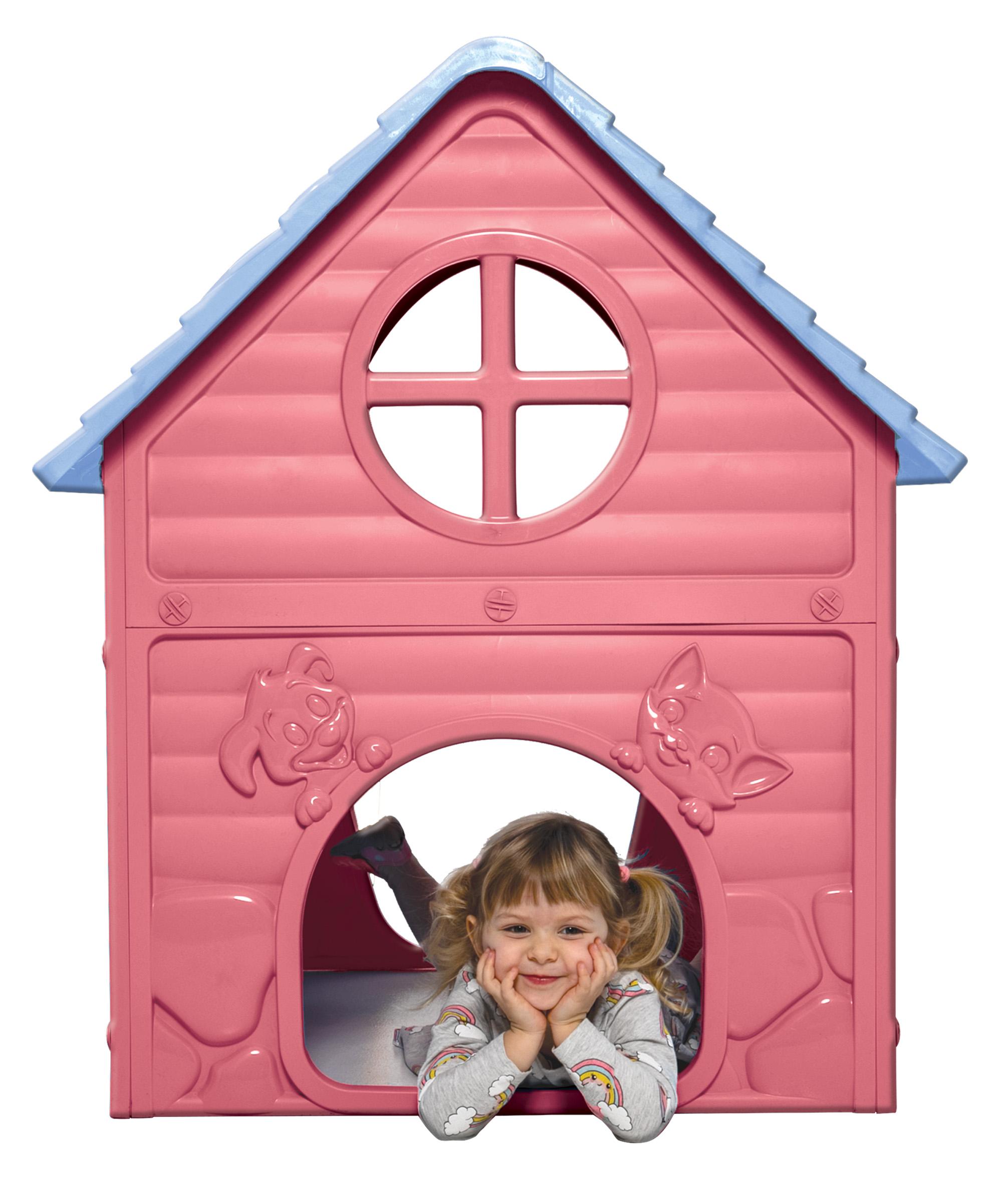 rózsaszín műanyag virágos játékház szemből és kislány