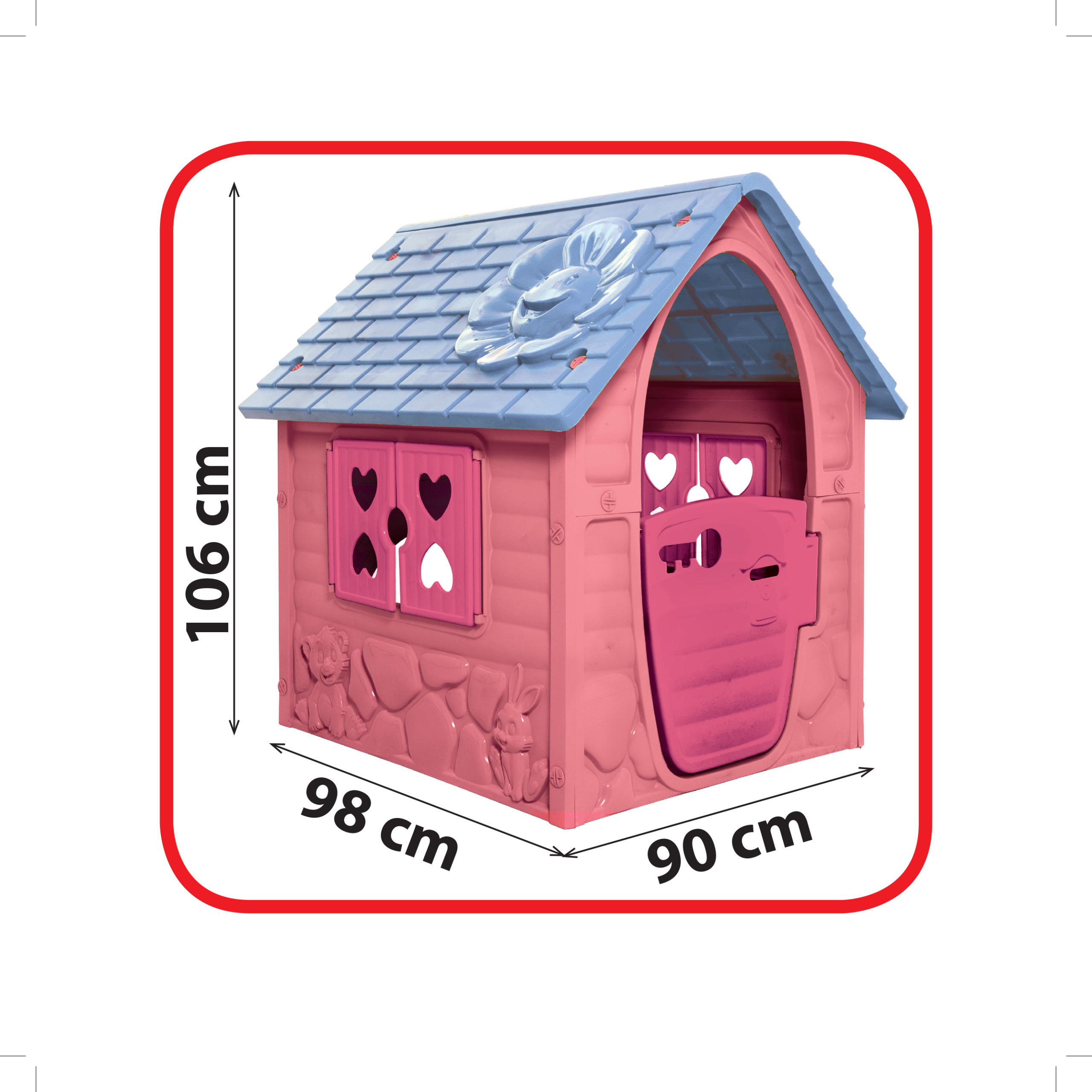 rózsaszín műanyag virágos játékház méret
