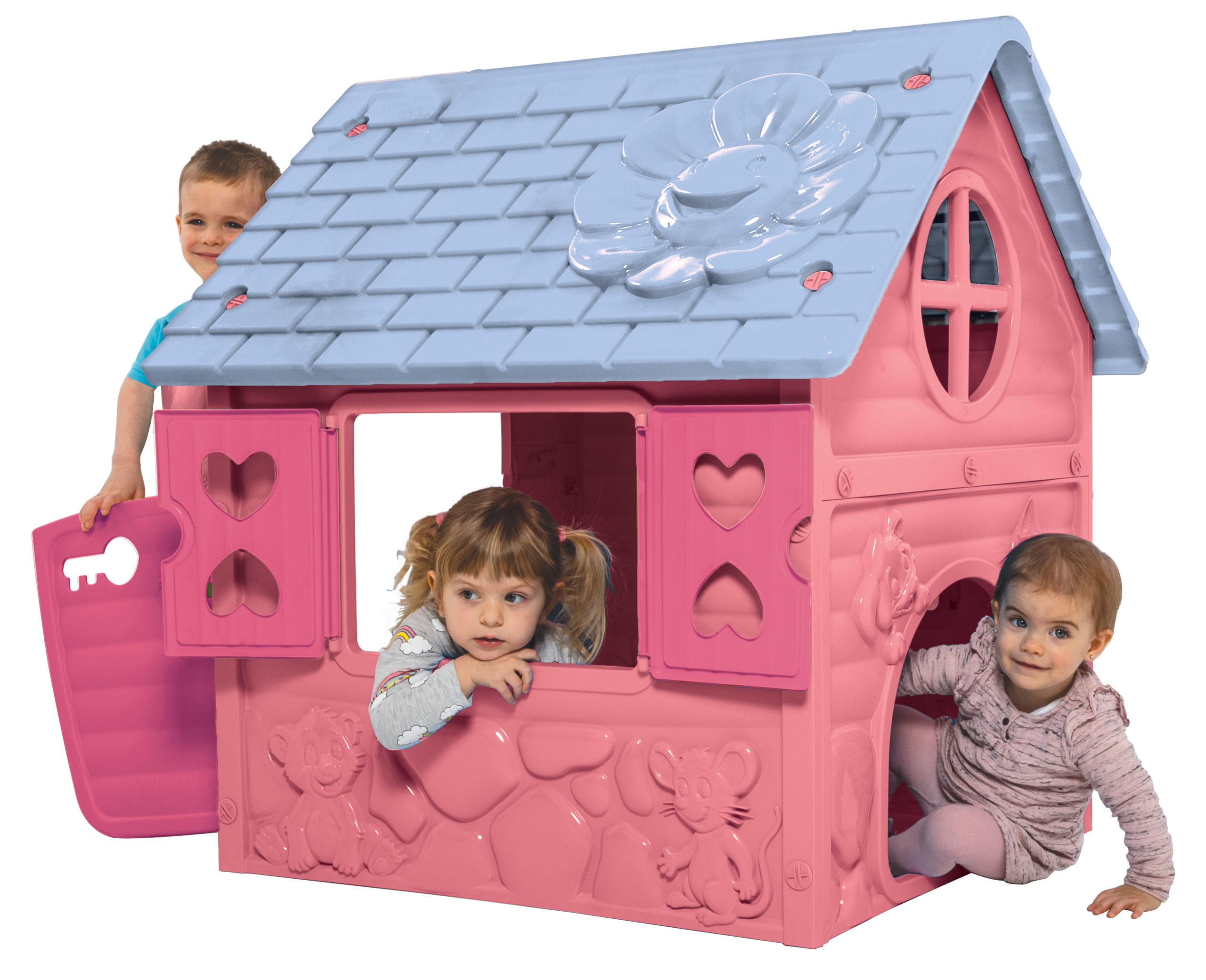 rózsaszín műanyag virágos játékház gyerekekkel