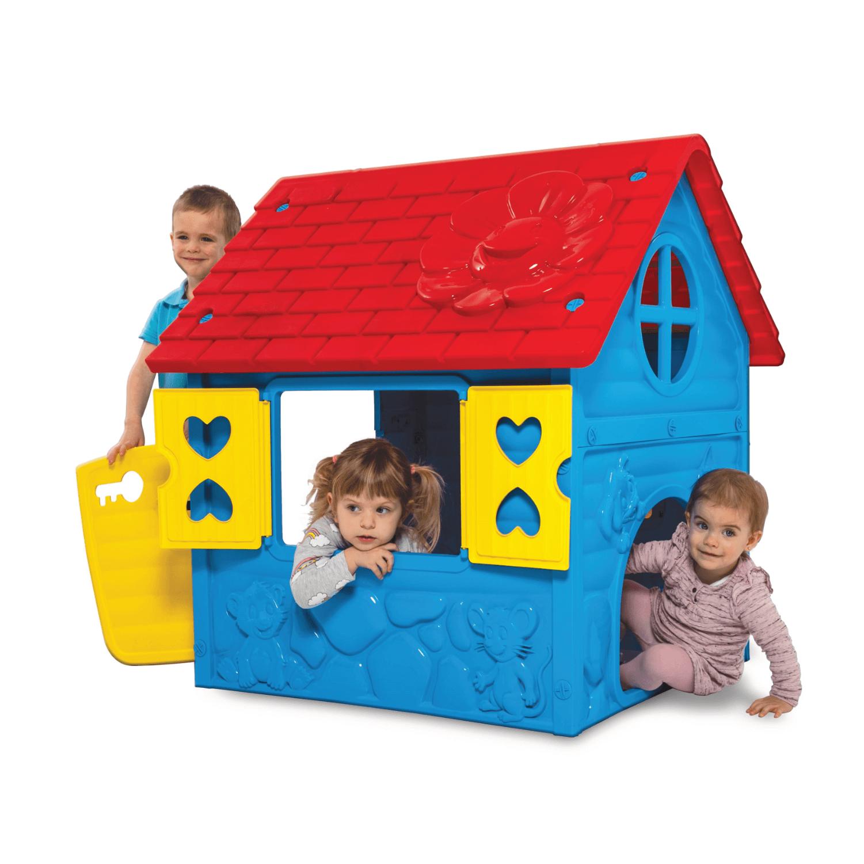 kék műanyag játékház gyerekekkel