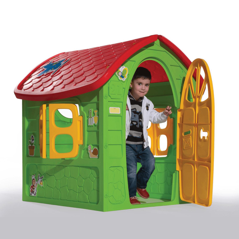 zöld méhecskés játékház szemből és kisfiú